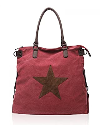 Womens Amber Star Large Canvas Shoulder Bag for Office, Holiday