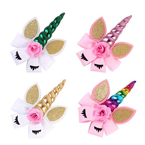 Frcolor - 4 pinzas para el pelo de unicornio