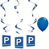 partydiscount24 Deko-Spirale Ruhestand Verkehrsschild + 1 Gratis Luftballon Blau Ø 30 cm