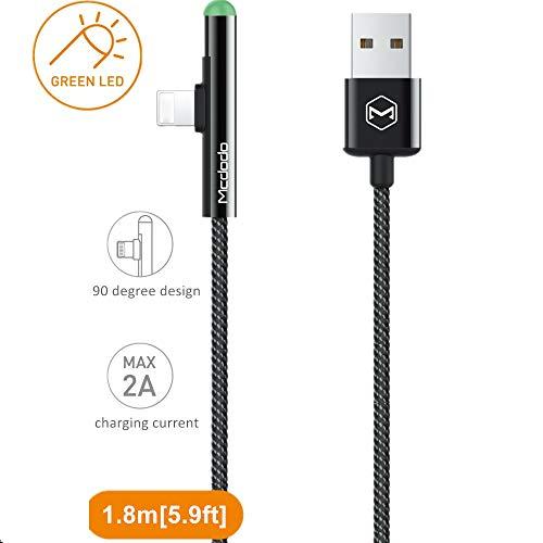 Mcdodo LED 90 Grad Ladekabel Winkel USB Kabel abgewinkelt Nylon geflochten Schnellladegerät Daten Sync L Form Kabeladapter kompatibel with Phone X 8 7 6 Plus Pad Pod (Zylindrisch 1,8m) - Ipod Nano 2. Generation Video
