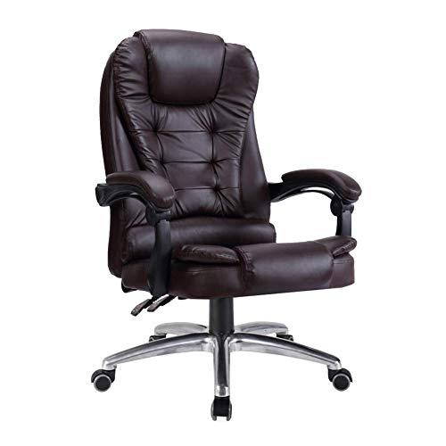 LH-Sonnenliege Chefsessel mit hoher Rückenlehne Höhenverstellbarer Ledersessel Chefbüro-PC Gaming Tilt Napping Desk Computer-Stühle (Farbe : Braun, größe : Without Footrest) -