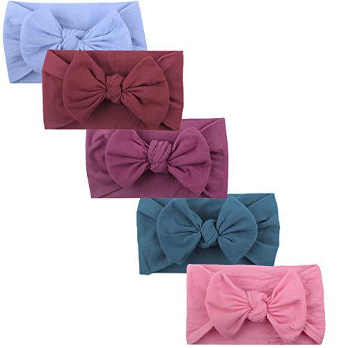 Huhu833 Baby Stirnbänder, 5 Stück Cute Baby Kleinkind Infant Circle Stirnband Stretch Haarband Headwear (5 Pcs B)