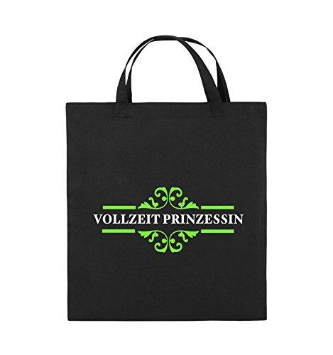Comedy Bags - Vollzeitprinzessin - Jutebeutel - kurze Henkel - 38x42cm - Farbe: Schwarz / Weiss-Neongrün Schwarz / Weiss-Neongrün
