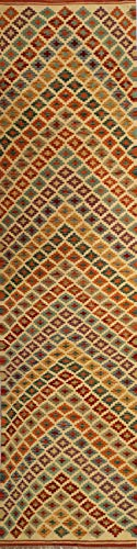 Mollaian passatoia kilim 300 x 77, originale kilim kaudani melange, colori naturali e vegetali, garanzia