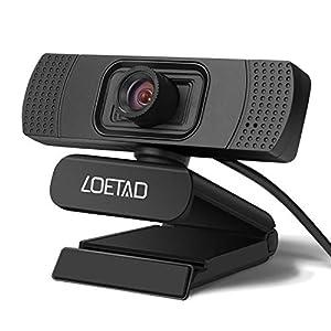 webcamcámaras web: LOETAD Cámara Web 1080P Full HD Webcam con Micrófono Estéreo para Video Chat y G...