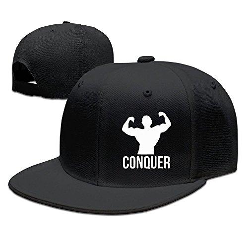 XCarmen HNN Unisex Conquer Bodybuilding Flat Baseball Caps Hats Black