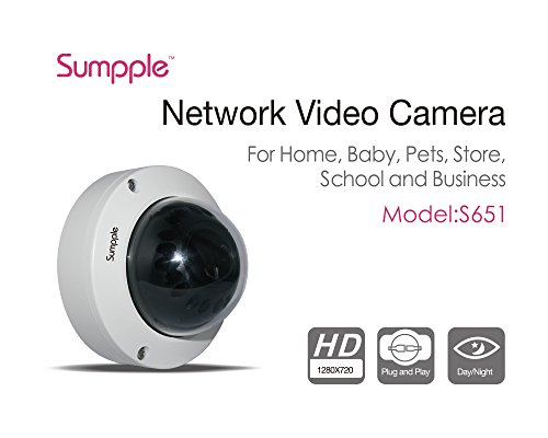 Sumpple 2X WIFI Videocamera Sicurezza Casa IP Wireless/Cablato HD 720P Network, Visione Notturna per Bambini, Animali Domestici, Casa,Ufficio, Supermercati Bianco Wired Cam-1pezzo