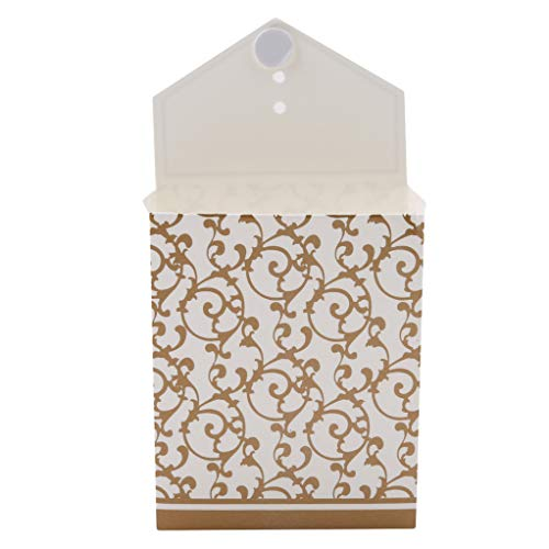 SEVENHOPE 10 Teile/Paket Hochzeit Dekoration Gefälligkeiten Party Geschenktüte Kreative Pralinenschachtel DIY Papiertüten Mit Bändern (Gold)