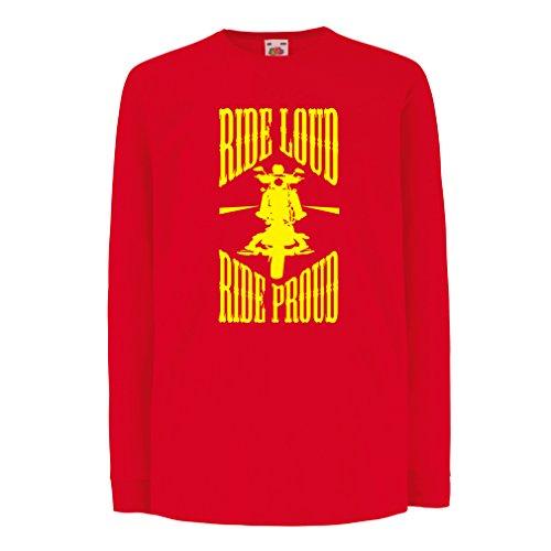 N4695D Kinder-T-Shirt mit langen Ärmeln Ride Loud! (14-15 years Rot Mehrfarben)