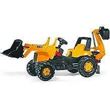 Rolly Toys 812004 - Veicolo a Pedali JCB Trac Backhoe, con Ruspa Junior e Escavatore Posteriore