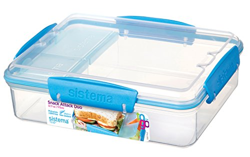 Sistema Lunch Snack Attack Duo 'to go' - 975 ml transparent/blau (Box Storage System)