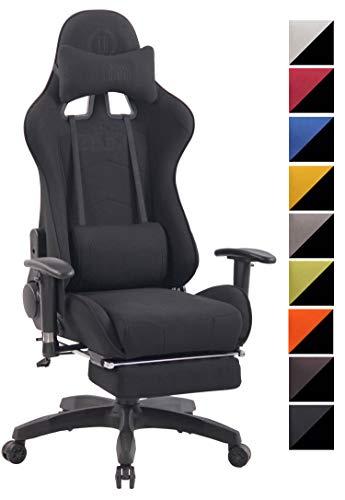 CLP Chefsessel Turbo XFM Stoff mit Massagefunktion l Höhenverstellbarer Bürostuhl mit ausziehbarer Fußablage und beheizbarem Sitzbereich schwarz/schwarz