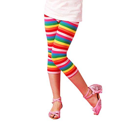 Mactery Bambini Ragazza Cotone Leggings a strisce arcobaleno Ghette 5anni