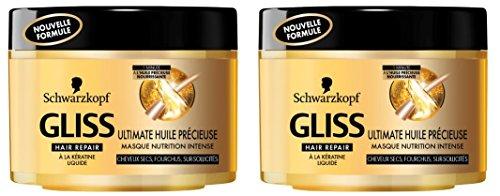 Schwarzkopf Gliss Masque pour Cheveux Ultimate Huile Précieuse Flacon 200 ml Lot de 2