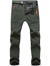 YiLianDa Pantalones de Trekking Pantalones de Softshell Impermeables  Resistente al Viento Transpirable Lana Forrado Pantalones de d1d4e06fd6f64