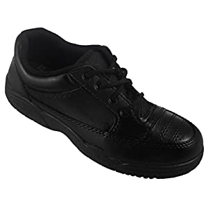 Action Synergy 1258 Black/White School Shoes