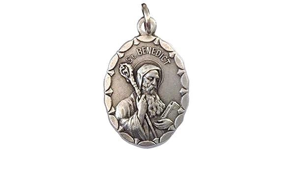 M/édailles des Saints Patrons 100/% Made in Italy M/édaille ovale de Saint Beno/ît de Norcia