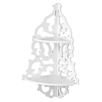 Reelva White Filigree Style Shelf, Shabby Chic Cut Out Design Decorative Wall Shelves are Great for Candle Holders and Small Vases, Corner Shelf by Reelva