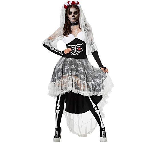 dressforfun 900416 - Damenkostüm Gruselige Skelett-Braut, Vokuhila-Kleid mit Skelett- und Herzaufdruck (XXL | Nr. 302009)