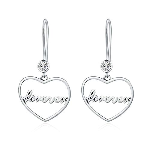 Love is forever - orecchini pendenti romantici in argento sterling 925 con cuore e scritta