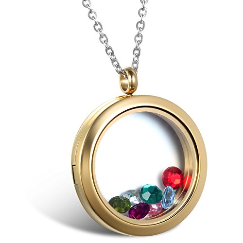 Gold locket amazon jewelrywe living memory floating charm round glass locket pendant necklace stainless steel magnetic closure locket charms necklace included gold aloadofball Gallery