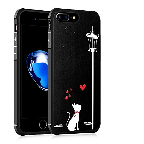 "Gukas Design Housse Coque TPU Silicone Case Etui Cover Pour Apple iPhone 7 plus / iphone 8 Plus 5.5"" Gel Ultra Slim Soft Bumper Protective Rubber Shock Absorber Flexible (WhiteCat) LoveCat"