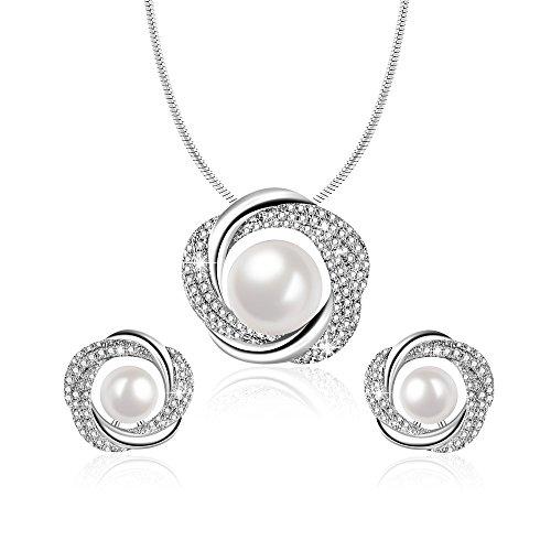 Angelady Elegante Collar de Perlas y Pendientes para Mujer, Conjunto de joyería con Colgante Regalos de cumpleaños de Aniversario para mamá Novia