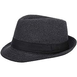 AIEOE - Sombrero Hombre Boda Panamá Jazz con Ala Ancha Gorro de Copa Fieltro Disfraz Trilby Hat Adulto Caballeros Sombrero Invierno Cálido para Fiesta Viaje - Gris
