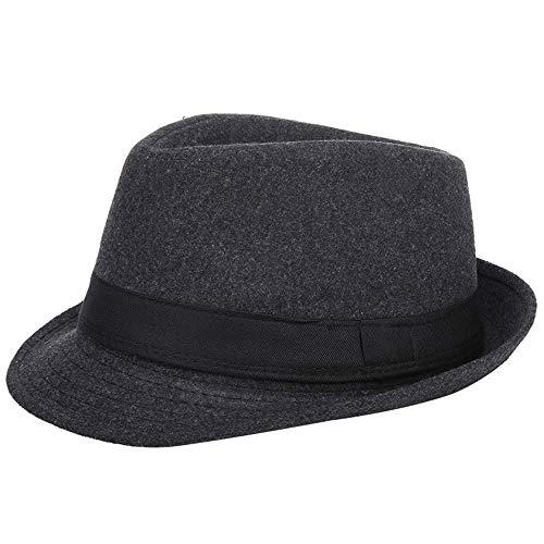 AIEOE - Cappello Panama da uomo in feltro Cappello da jazz britannico con cappello ad ala Eleganti signori per uomini adulti Cappello da uomo Inverno caldo