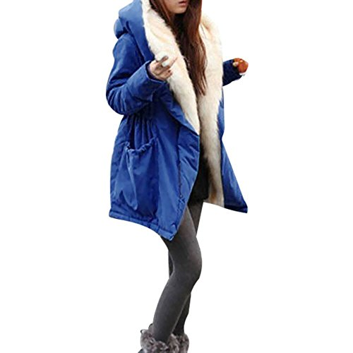 JURTEE Damen 2019 Jacken, Frauen Winter Warme Dicke Fleece Faux Pelzmantel Jacke Parka Mit Kapuze Trench Outwear(Large,Blau)