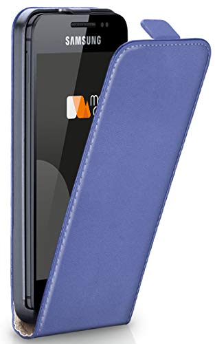 moex® Flip Case mit Magnetverschluss [Rundum-Schutz] passend für Samsung Galaxy Ace 2 | 360° Handycover aus feinem Premium Kunst-Leder, Hell-Blau (Ace Magnetics)