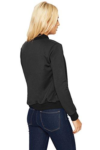 WearAll - Femmes Plaine Fermeture Éclair Longue Manche Étendue Bombardier Veste Haut Manteau Blazer - Jackets - Femmes - Tailles 36-42 Noir