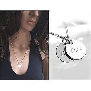 Silberkette mit zwei Namensanhängern, Zwei Plättchen Kette, Gravur, Name, Wunschtext, 925 Sterlingilber Schmuck