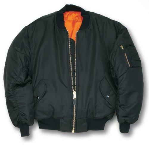 MA1Bomber Flight giacca con cerniera in ottone pesante Black M