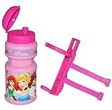 Unbekannt Fahrradtrinkflasche Disney Prinzessin rosa mit Halterung - Halter Fahrradflasche Trinkflasche für Kinder Fahrrad Roller Dreirad
