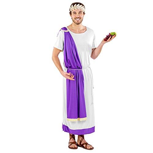 TecTake dressforfun Herrenkostüm Herrenkostüm Kaiser Marcus Aurelius | Weiße Toga mit Lila Saum | Lorbeerkranz | Kordel als Gürtel (XL | Nr. 300217)