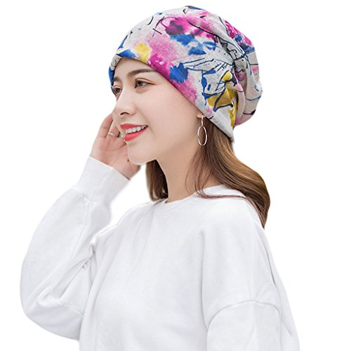 CADANIA Women Floral Printed Beanie Hat Chemo Cap Stretch Slouchy Turban Cancer Headwear Flowers