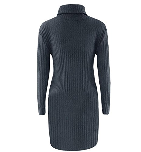 Rcool Damen Mode Langarm Pullover Rollkragen Pullover solide lässige Kleidung Dunkelgrau