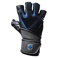 Harbinger Training Grip Wristwrap Weightlifting Gloves with TechGel-Padded Leather Palm (Pair), Medium
