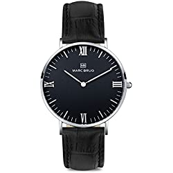 Marc Brüg Men's Minimalist Watch Broadway 41 Black Hygge