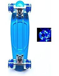 Monopatín Mini Cruiser de Wonnv con luces LED, 57 cm, Blue Deck+LED Blue wheel