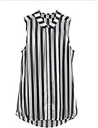 Y-BOA - Chemisier T-shirt Top - Rayure Noir&Blanc–Femme/Fille – Haut - Sans Manche - Chiffon Soie