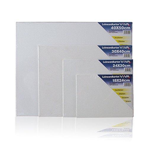 10 er Pack Malpappe 30x40 cm Leinwandkarton vorgrundiert Baumwolle weiß