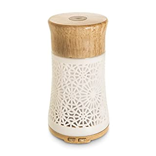 LIVIVO  Artisan Oil Diffuser - Wood Effect Ultrasonic Whisper-Quiet 100ml Cool Mist Humidifier and Aromatherapy Essential Oil Air Purifier with 7 Colour Changing LED Light and Safety Shut Off (Natural Wood)