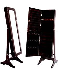 Square Furniture Mirrored Jewelry Cabinet Armoire Stand, Cabinet - ESPRESSO by SQUARE FURNITURE