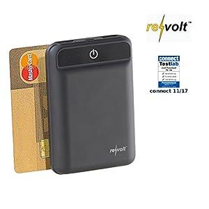 reVolt Micro Powerbank: Powerbank im Kreditkartenformat, 10.000 mAh, 2 USB-Ports, 2,4 A, 12 W (Powerbank Kreditkarte)