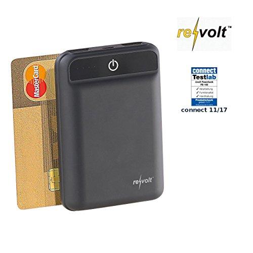 reVolt Powerpack: Powerbank im Kreditkartenformat, 10.000 mAh, 2 USB-Ports, 2,4 A, 12 W (USB Powerbanks Kompakt)