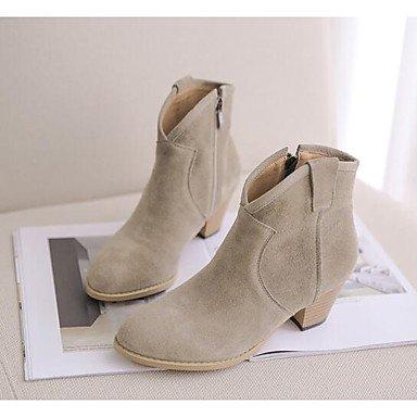 Desy Femmes Chaussures En Cuir Nubuck Printemps Automne Décolleté Cheville Bottes Bottines Carré Bout Rond Avec Arc Pour Kaki