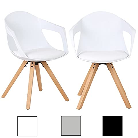 WOLTU® 2 X Chaises salle à manger BH49ws-2-c salle à manger chaise,Chaise de cuisine en bois,Blanc
