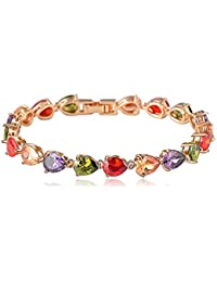 Yellow Chimes Multicolor Swiss Cubic Zirconia 18K Gold Plated Diamond Single Strand Bracelet for Women/girls